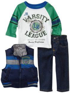 Little Rebels Baby-boys Infant Three Piece Division One Squad Vest Set, Navy, 12 Months