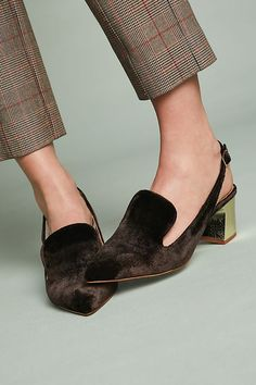 Slide View: 1: Intentionally Blank Velvet Kina Slingback Loafers #slidesshoes