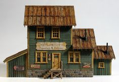 Vilius's scale modeling endeavors: Building Dewitt's Depository by Camppbell Train Miniature, Ho Scale Buildings, Fortification, Model Trains, Modeling, Laser, Ghost Towns, House Styles, Cyberpunk