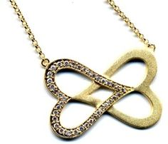 """Matte Gold plated Double Heart Fashion Necklace.   With Sparking High Quality Glistening Diamond Looking CZ Stones.  16"""" long with 2"""" extension chain.   Pendant size 35x25mm with white cz stones.   Available in silver matte too http://www.thesterlingstar.com/"""