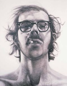 """Chuck Close's """"Big Self-Portrait"""" is part of a series of large (7' x 9'), unflattering portraits of people. These portraits are airbrushed, and at this time, Close was so regimented in his painting method that he could calculate how long it would take to complete a single painting. Close is now confined to a wheelchair and has diminished motor capabilities, so his current portraits are more abstract."""