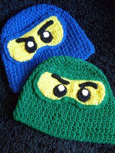 Ninja lego ninjago inspired crochet hat i can knit too 0-toddler on Etsy, $20.00