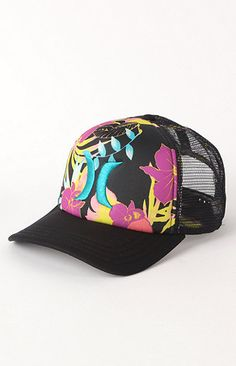 Hurley -> #Floral Trucker #Hat #Summer #Love #Girls #Beautiful #Sexy #Outfits #Sun #Sea #Fun  http://www.pacsun.com/hurley/floral-trucker-hat-1149848.html?start=111=womens-accessories