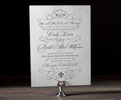 Letterpress Wedding Invitations | Traditional Script Design | Bella Figura Letterpress
