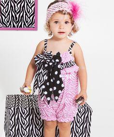 Zebra Ruffle Bow Bubble Romper - infant & toddler