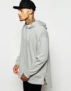 Image 1 of ASOS Super Longline Oversized Hoodie With Stepped Hem & Zips