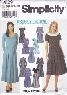 New Sewing Pattern Simplicity 9829 Design Your Own High Waist Retro Style Dress Miss Size 14 16 18 20 Bust 36 38 40 42 Plus size 2001 by LanetzLiving on Etsy Fashion Dolls, Retro Fashion, Fashion Dresses, Mccalls Sewing Patterns, Simplicity Sewing Patterns, Girls Dress Pants, Girl With Hat, Design Your Own, Retro Style