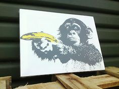 30cm Framed Canvas Print Banksy Monkey Banana Gun Modern Graffiti ...