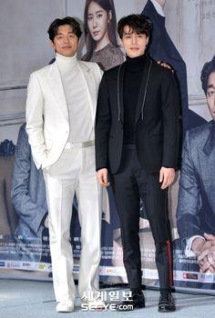 Gong Yoo. Lee Dong Wook. Kim Go Eun. Yoo In Na. Yook Sung Jae tvN Drama 'Goblin' Press Conference 22 November 2016 Lee Dong Wook Goblin, Goblin Gong Yoo, Beautiful Boys, Gorgeous Men, Goblin Korean Drama, Goong Yoo, Classy Suits, Classy Style, Yoo Gong