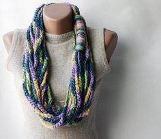 Chain infinity scarf Multicolor crochet necklace chunky Purple teal green yellow Winter accessories VALENTINE'S DAY SALE 20 % off. $11.00, via Etsy.