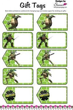 Free Printable Gift Tag, Ninja Turtles