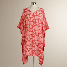 One of my favorite discoveries at WorldMarket.com: Coral Floral Kaylani Kaftan-... Have this - Love this!