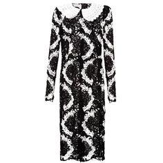 Dolce & Gabbana Bi-colour macramé-lace dress ($6,552) ❤ liked on Polyvore featuring dresses, black white, dolce gabbana dresses, black white dress, lace dress, sheer dress and floral lace dress