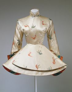Evening coat, 1935, Madame Grès (Alix Barton) (French, 1903–1993). White silk brocade with polychrome birds and polychrome striped silk