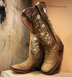 Buy Women's Fashion Floral Embroidery Square Toe Boots Steampunk Vintage Knee High Cowgirl Boots Autumn Winter Warm Flat Tall Boots Ladies Low Heel Martin Boots Shoes Plus at Wish - Shopping Made Fun Cute Cowgirl Boots, Cute Cowgirl Outfits, Rodeo Outfits, Cowboy Boots Women, Cute Boots, Women's Western Boots, Western Wear, Cowboy Boot Outfits, Dresses With Cowboy Boots
