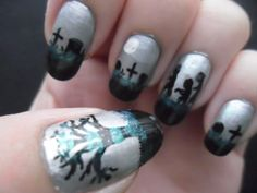 Second October 2012 design for Halloween nails.  Zombies in the graveyard, complete with creepy green fog!