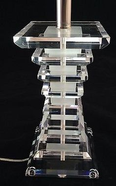 """3/4"""" Clear Acrylic / Lucite Table Lamp with Square Frosted Acrylic Accents, NEW on Etsy, $149.99"""