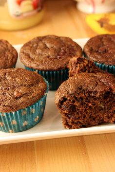 Chocolate Raspberry Muffins ~  Healthy ingredients!