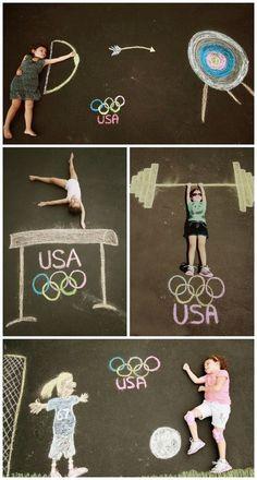 Easy Rio Olympics Crafts: sidewalk chalk art at Burgh Baby