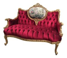 A wonderful French Louis XVI sofa. The sofa was recently upholstered with cotton & silk fabric and the massive handmade beech wooden frame was finished in gold leaf. It has durable padding as well. Victorian Sofa, Victorian Bedroom, Victorian Furniture, Victorian Decor, French Furniture, Unique Furniture, Sofa Furniture, Victorian Parlor, Bohemian Furniture