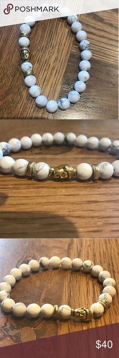 Marble White Buddha bracelet new Gorgeous beaded Buddha bracelet with gold buddha- so pretty and stylish Jewelry Bracelets