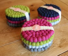 Felt Ball Coasters Pack of 4 // Choose your own by NomiMakes