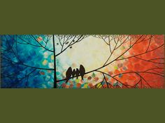 """The Birds Family"" Metallic Painting Landscape Tree Branches Wall Decor"
