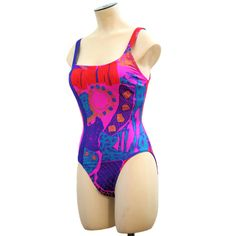 Bright Lights JAG Swimsuit Neon Pink Purple Strappy 80s Swimwear Tank S M B32-34 FREE US Shipping! by MorningGlorious on Etsy