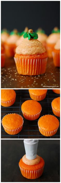 Pumpkin Cupcakes have light, fluffy buttercream frosting on top that looks like a pumpkin! Perfect for fall and for Halloween parties.