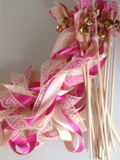 75 Wedding Wands Lace Ribbon Bells Streamers Birthday Party Gold Silver