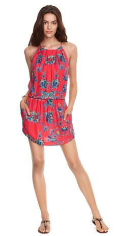 Cherry   $288.00- Rouge Multi printed silk  - Elastic waist  - Neck tie closure  - Sleeveless  - Pleating on bodice  - Shirt tail hem  - Pockets