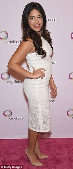 Curvaceous: The Jane The Virgin star highlighted her curves in that form-fitting dress and...