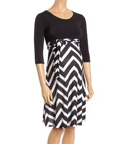 Black & White Zigzag Maternity Empire-Waist Dress - Plus Too   zulily