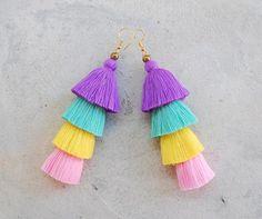 Handmade Sweet Pastel Tassel Earrings