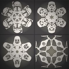 That's right, Star Wars Snowflakes! How to: Make DIY Star Wars Snowflakes (Free Templates) Holiday Fun, Holiday Crafts, Christmas Crafts, Xmas, Origami, Star Wars Snowflakes, Paper Snowflakes, Diy Star, Deco Cupcake
