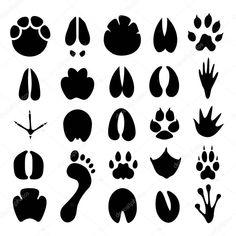 Siluetu Různých Typů Stop Obrazů Rozměrech Pixelů Lze Znovu Silhouette Vector, Footprint, Illustration, Illustrations