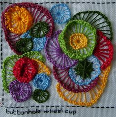 start something as crochette then embroider it onto something    Embroidery -- Buttonhole Wheel Cupp