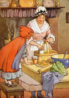 Little Red Riding Hood by Margaret W. Tarrant English illustrator specializing in depictions of fairy-like children and religious subjects. Artist Canvas, Canvas Art, Charles Perrault, Prince Charmant, Children's Book Illustration, Book Illustrations, Red Riding Hood, Nursery Rhymes, Little Red