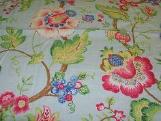 Suburban Cyrus Clark Designer Fabric Clarissa 1 7/8 yd. Floral on Blue | eBay