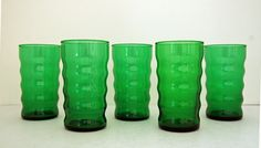 Set of 5 Forest Green Glass Retro Tumblers