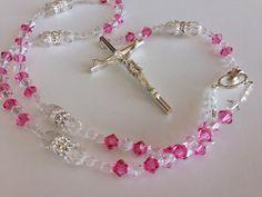 Católica rosario/Rosario de cristal del por WEDDINGLASSOS en Etsy