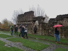 Exploring the site of Bede's Monastery (and ignoring the rain!). November 2016