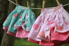 Sarah Jane's Children at Play fabric twirly skirts...made by me!