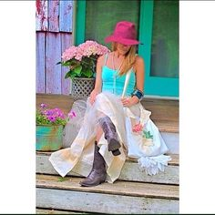 """Cowgirl glam tulle maxi skirt One of a kind handmade cowgirl skirt. Made from vintage lace, linen and tulle. Waist- 28"""" unstretched. Can stretch to 34"""". Length 39 1/2 Gina Louise Skirts Maxi"""