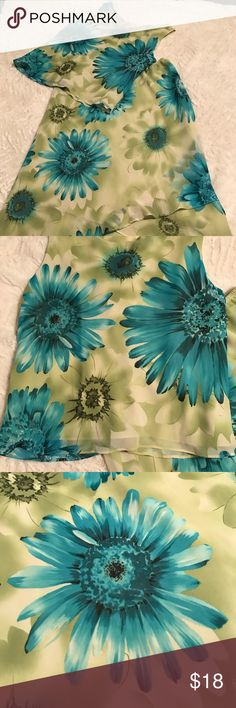 Cute 2pc Dress! Size 16 Dress Barn, size 16. Gently loved, excellent condition. Aqua and green daisies...SUPER CUTE! Fully lined. No signs of wear  Sleeveless top, swag front   - 18 1/2 inches from swag to bottom hem) Skirt with elastic waist with tulip/wrap-like bottom hem in front   - waist to shortest part of hem - 27 1/2 inches  - waist to hem in the back - 33 inches  - waist un-stretched is 14 inches  - waist stretched is about 21 inches Dress Barn Dresses Midi