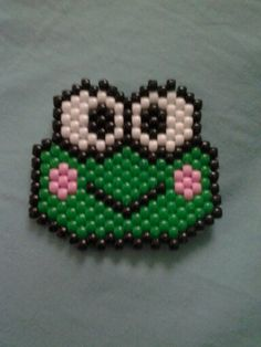Keroppi from Sanrio peyote stitch made with mini pony beads