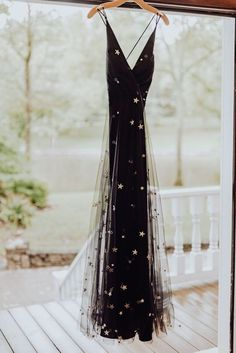 c0befc4fe44 Black tulle gold star wedding dress. fashion prom gown
