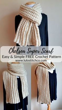 Easy & Simple Chelsea Super Scarf This scarf really couldn't be easier to make, and it's so very sty Crochet Scarves, Crochet Clothes, Crochet Yarn, Hand Crochet, Crochet Granny, Crochet Blanket Patterns, Crochet Stitches, Knitting Patterns, Knitting Tutorials