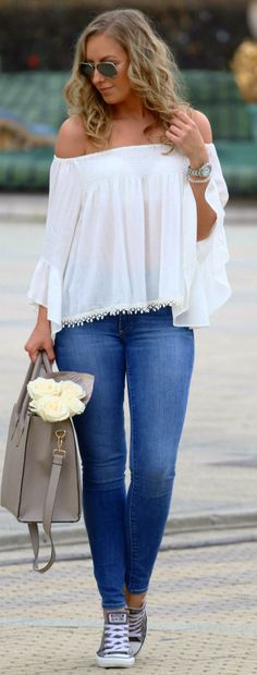 Sans Souci White Blouse //  Spring Fashion Trend by Style And Blog