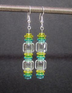 Blue, Yellow & Clear LEGO® Earrings with Stainless -- by beyondthebulb $12.00